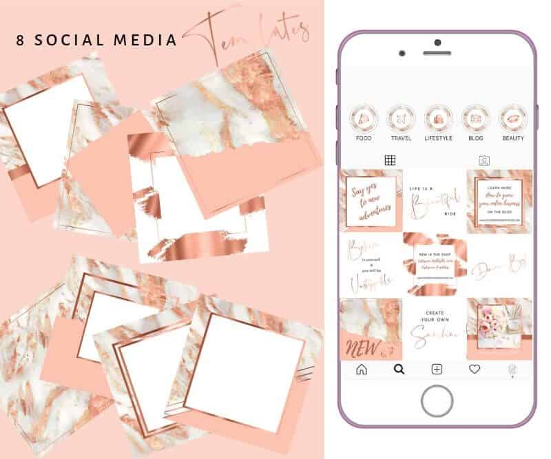 Instagram Templates Rose Gold Marble