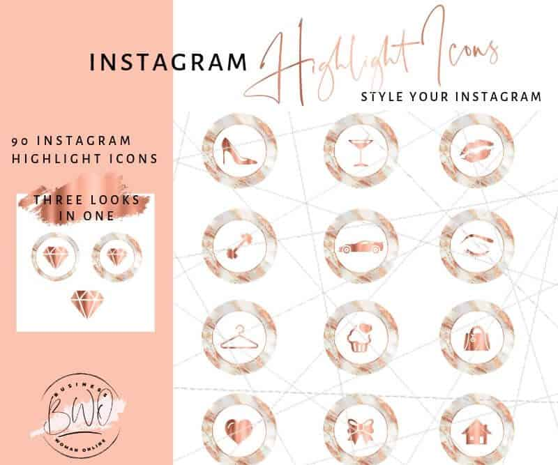 Instagram Highlights Icons Rose Gold Marble